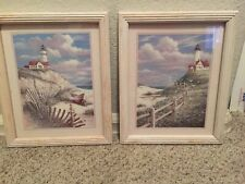 """Nautical Beach and Lighthouse Framed Glass Picture Set 9"""" x 11"""""""