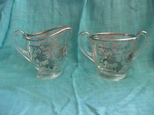 Vintage Cream & Sugar Set - Glass with Silver Overlay