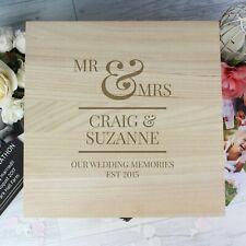 Personalised Wooden Mr & Mrs Large Keepsake Box Wedding Gift Anniversary Memory