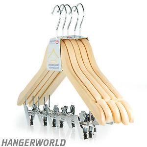Hangerworld™ Cintres 45cm en Bois Pinces Réglables Jupes Pantalons Encoches