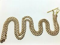 """Antique Unusually Long Heavy 9ct Gold Albert Watch Chain 32 1/2"""" 66.66g"""