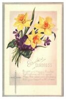 Antique colour printed postcard greetings card Easter Gladness