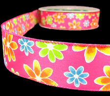 """Colorful Daisy Flowers Wired Ribbon 1 1/2"""" Wired - Pink Green Yellow"""