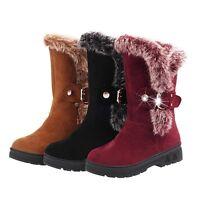 Women's Warm Snow Boots Thicken Fur Scrub Mid Calf Shoes Rhinestone Buckle Flats