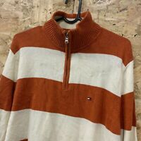 TOMMY HILFIGER VINTAGE STRIPED 1/4 ZIP ORANGE & WHITE SWEATSHIRT JUMPER UK SMALL