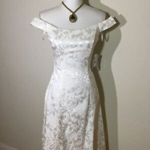 Vtg 90s Jessica McClintock Womans Size XS Off The Shoulder Dress In White NWT