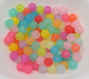 """500 Mixed Color Frosted Acrylic Round Smooth Beads 6mm(0.24"""") Rubber Tone"""