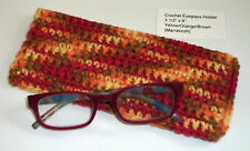 New Unique Handmade Crochet Eye Glass Sunglass Holder Carrier Yellow Orang Brown