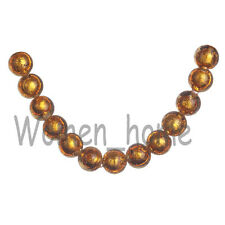 10Pcs New 10mm Glass Silver Foil Inside Lampwork Round Loose Spacer Beads Amber