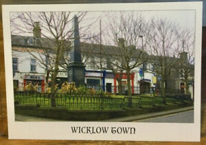 Irish Postcard WICKLOW TOWN Square Obelisk Monument Ireland Rainbow 4x6 Chrome