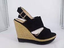 ERYNN Black Strappy Peep Toe Wedges w Weaved Heels UK 4 EU 37 LG077 JJ 03