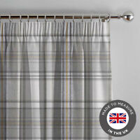 Grey Tartan Made To Measure Curtains - Luxury Lined Thick Curtain - UK Made