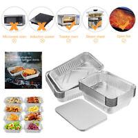 20PCS Aluminum Foil Tin Trays Disposable Roasting Takeaway Oven Baking Tray +Lid