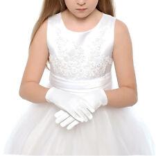 1Pair Kid Gloves White Short Satin Feel Hold Flower Performance Dance for 3-10Y~