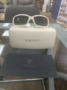Versace Iconic Coin NO MISSING CRYSTALS Rare White Frames 4044-B Unisex Sunglass