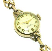 Ladies/womens 9ct yellow gold antique/vintage British Make B and S wristwatch