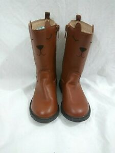 Carter's Toddler Girls Size 7 Faux Leather Brown Riding Biker Mid-Calf Boots