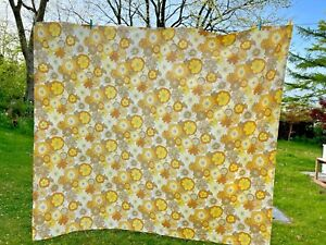 Vintage 60s 70s St Michael Flower Power Double Flat Sheet Orange yellow