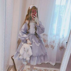 Lady Girl Lolita Dress Cosplay Costume Kawaii Ruffle Puff Sleeve Black Retro