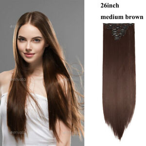 "8 pcs 26"" Straight Full Head Clip In Hair Extensions Real Natural Medium Brown"