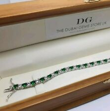 White gold finish green emerald and created diamonds tennis bracelet gift boxed