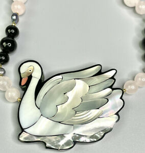 Lee Sands Shell Inlaid Swan Necklace Handmade in Hawaii