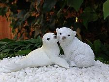 Miniature Dollhouse FAIRY GARDEN ~ Snuggling Baby Polar Bear with Baby Seal NEW