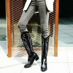 Women's Fall Winter Knee High Boots Cuban Mid Heels Western Cowboy Cowgirl Boots