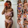 Women Floral High Waist Bikini Set Push up Padded Swimwear Bathing Suit Swimsuit