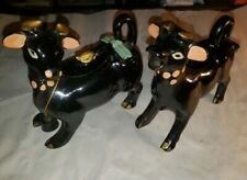 Vintage Redware Pottery Black Cows w/ Bell Hand Painted Cream & Sugar Set Japan