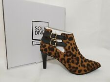 Sole Diva Leopard Print Ankle Heeled Boots uk 4 E wide fit