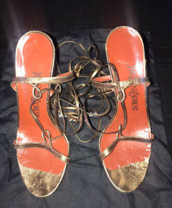 Vintage YSL Gold Strapped Sandals Womens Shoes Size 7.0