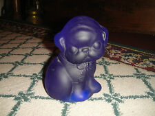 Vintage Blue Purple Glass Bulldog Boston Terrier Puppy Bookend Doorstop-CUTE