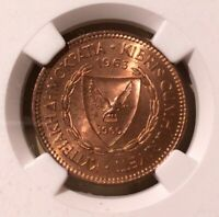 1963 CYPRUS 5 Mils NGC MS 64 RB - Bronze - Galley Ship
