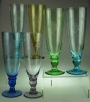 Set of 6 Harlequin Glass Champagne Flutes Grape & Vine Design KC713