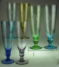 Set of 6 Harlequin Glass Champagne Flutes Grape & Vine Design KC713