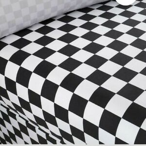 BLK/WHT CHECK RACING CARS SINGLE FITTED BED SHEET POLYCOTTON NEW
