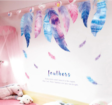 Colorful Feather Wall Stickers Romantic Pink Feather Decals 60x90cm Home Decor