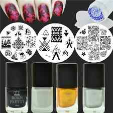 9Pcs/Set Snowflake Rose Nail Art Stamp Plates Polish W/Stamper Scraper