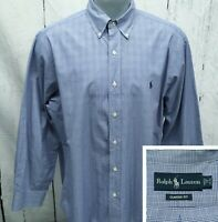POLO RALPH LAUREN 17 - 32/33 Classic Fit Shirt Blue Glen Plaid Button Down
