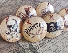 "6 Handmade Pirate Knobs Drawer Pull Set, 1.25"" Nautical Knobs, Jolly Roger, Ship"