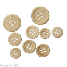 100PCs Wooden Buttons Natural Color Round 4-hole Sewing Scrapbooking DIY