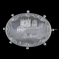 ANTIQUE VICTORIAN SILVER BROOCH DURHAM CATHEDRAL DATED 1893