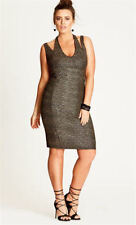 CITY CHIC XL 22 NWT RRP US $89 METALLIC GLAM GOLD