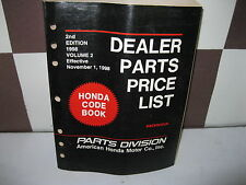 HONDA FACTORY DEALER PARTS PRICE LIST 2ND EDITION VOL 2 1998 EFF NOV 1, 1998
