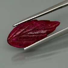 5.73 Carats Natural Red RUBY Leaf Carving for Jewelry Setting