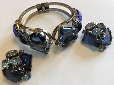 VERIFIED JULIANA D & E SHADES OF BLUE RHINESTONE CLAMPER BRACELET & EARRINGS