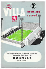 Aston Villa v Burnley, 1960/61 - League Cup Semi-Final Match Programme.