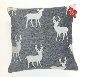 "Luxury Christmas Reindeer Grey Chenille Cushion Covers,17""(43cm) x 17"" (43cm)"