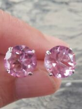 Pink Topaz Round Cut Stud Earrings 14kt Solid White Gold